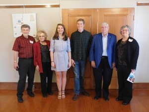 Left to Right:  PRA President Dennis Patton, Arkansas Poet Laureate Jo McDougall, 3rd Place Winner Alexandra Borchardt from Arkansas State University, 1st Place Winner Jake Sawyer from University of the Ozarks, JDC Sponsor Roger Carter, and JDC Contest Chair Donna Smith