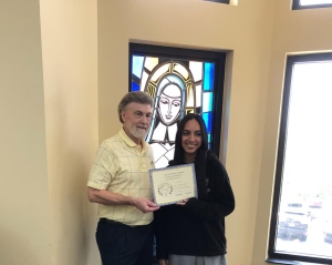 Raehana Anwar (on right) - Senior Division - 2nd place - receives her certificate and award from Dennis Patton.