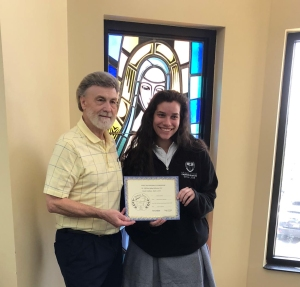 Stephanie Verdaris (on right) - Senior Division - 3rd place - receives her certificate and award from Dennis Patton.