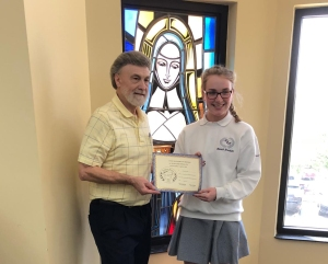 Hannah Brockette (on right) - Senior Division - 1st HM - receives her certificate and award from Dennis Patton.