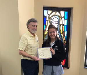 Grace Cassie (on right) - Senior Division - 2nd HM - receives her certificate and award from Dennis Patton.