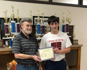 Jacob McGinness (on right) - Junior Division - 3rd place - receives his certificate and award from Dennis Patton.