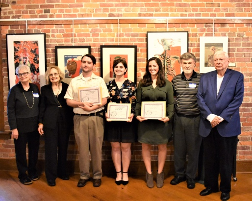 Pictured L to R are:  Pat Durmon (PRA Judge from Norfork, AR), Jo McDougall (Arkansas Poet Laureate from Little Rock), Gabriel Bass (1st Place winner of $500 from Hot Springs Village, AR), Olivia Burnett (2nd Place winner of $300 from Lynchburg, VA), Emma Barnes (3rd Place winner of $200 from Alexander, AR), Dennis Patton (PRA President from Alexander, AR), and Roger Carter (JDC sponsor from Hot Springs, AR).
