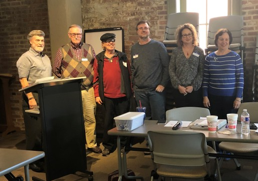 SNA winners - Dennis Patton announced the winners of the Sybil Nash Abrams Poetry Contest: L to R -- Dennis Patton, John McPherson, Dr. John Crawford, Sketer Michaels, Laura Bridges, and Cathy Moran (Sara Gipson, not pictured)